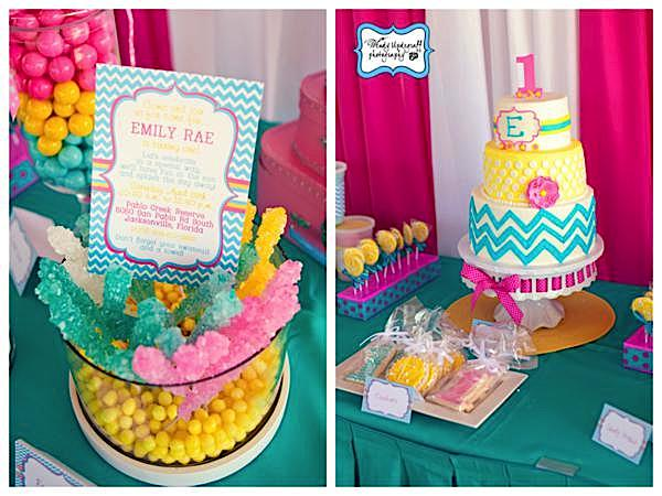 this chevron print summer themed first birthday party submitted by jill hill is absolutely adorable