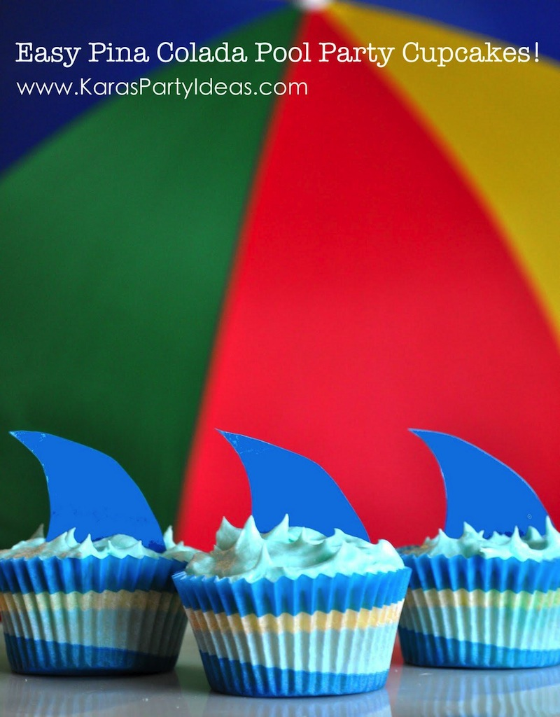 Pina Colada Pool Party shark cupcakes via Kara's Party Ideas KarasPartyIdeas.com
