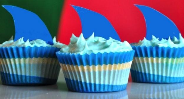 Pina-Colada-Pool-Party-shark-cupcakes-via-Karas-Party-Ideas-KarasPartyIdeas.com_