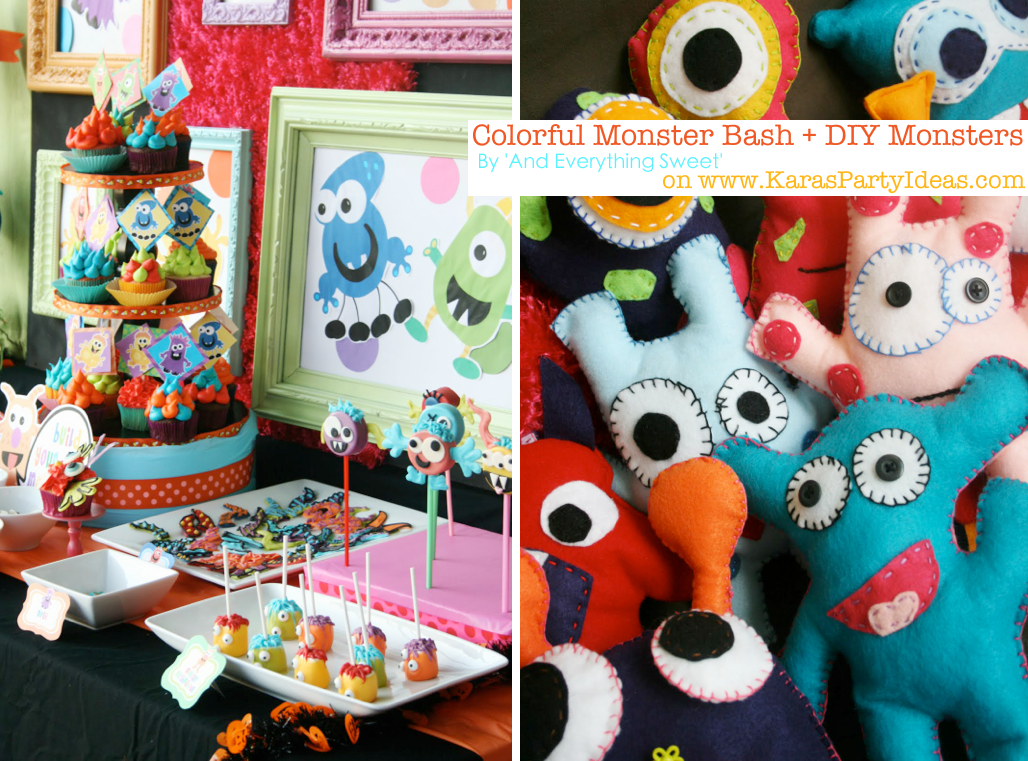 Colorful MONSTER bash party with DIY monsters! Via Kara's Party Ideas | KarasPartyIdeas.com #monster #party #diy #ideas