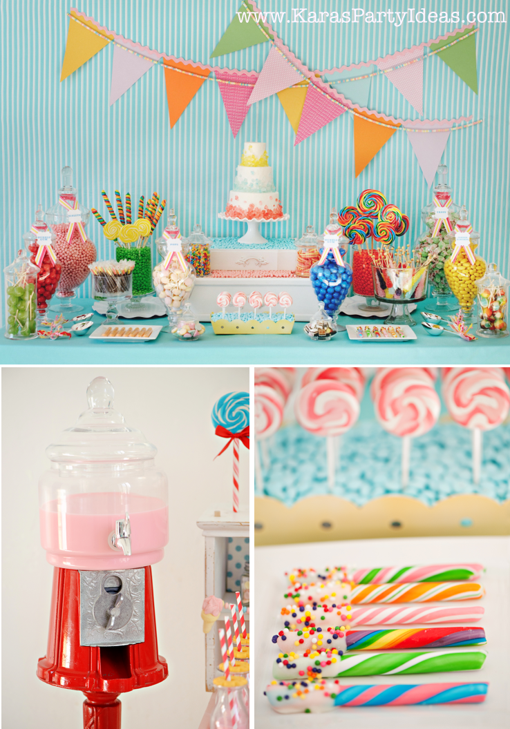 Candy themed party table the image kid has it - Candyland party table decorations ...