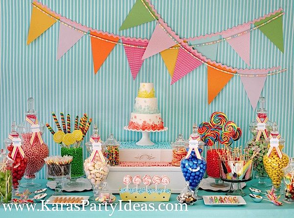 Sweet Shoppe Candy themed birthday party via Kara's Party Ideas  karaspartyideas.com #sweet #