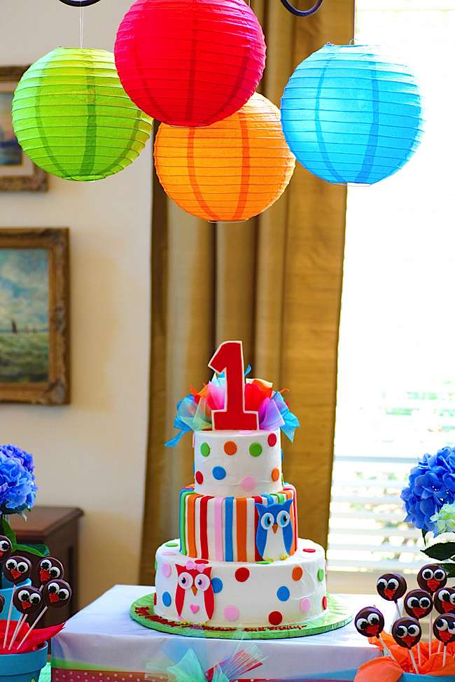 Karas Party Ideas Twin Owls 1st Birthday
