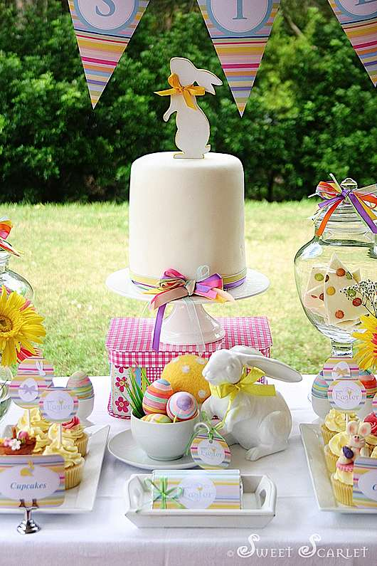 Kara 39 S Party Ideas Easter Dessert Table Decorations Spring Easter Party Ideas