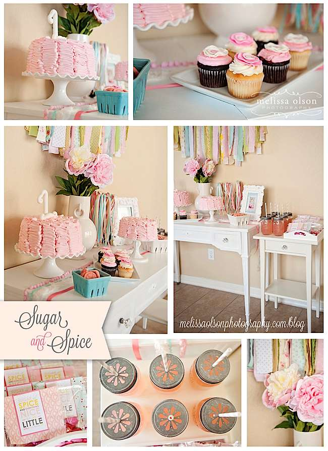 Kara 39 s party ideas vintage sugar and spice 1st birthday for Baby girl birthday party decoration ideas