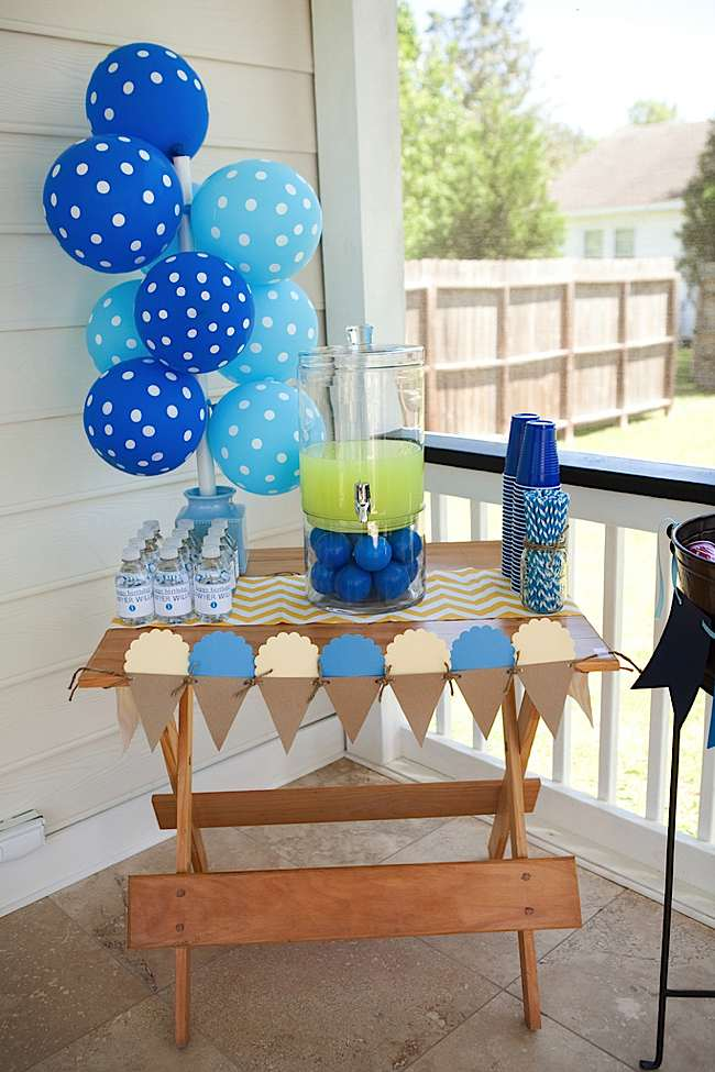 Kara's Party Ideas Blue Balloon Themed Ice Cream Party ...