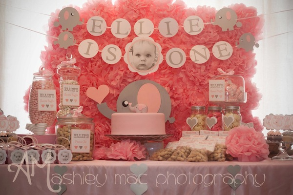 Kara 39 s party ideas pink elephant 1st birthday party kara for Baby first birthday decoration ideas