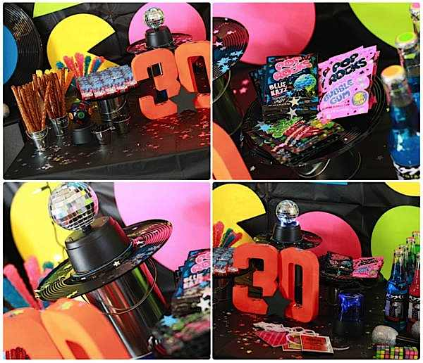 Kara 39 s party ideas 80 39 s rock star neon rocks adult teen for 80 birthday decoration ideas