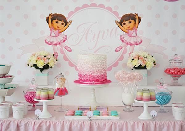 Karas Party Ideas Dora Explorer Ballerina Girl Pink Birthday Party