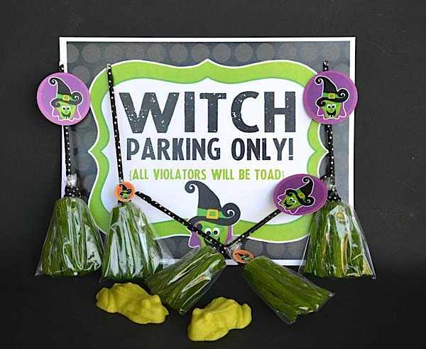 Printable, chocolate frogs, and green licorice brooms from The Witch is In Children's Halloween Party at Kara's Party Ideas