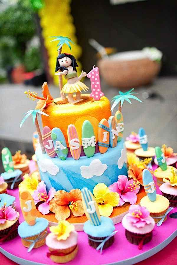 Karas Party Ideas Aloha Luau Surf Colorful Hawaiian Beach Girl 1st