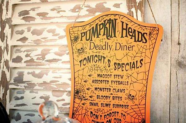 Pumpkin heads deadly diner from Flashback Friday: Halloween Trick or Treat Party via Kara's Party Ideas
