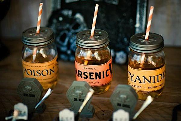 """Poison"" mason jar drinks from Flashback Friday: Halloween Trick or Treat Party via Kara's Party Ideas"