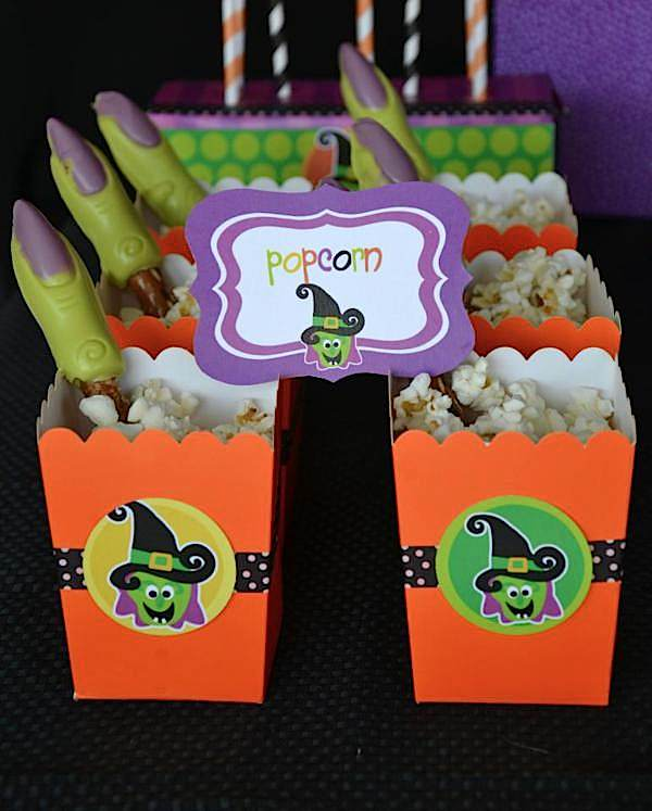 Witch fingers in popcorn from The Witch is In Children's Halloween Party at Kara's Party Ideas