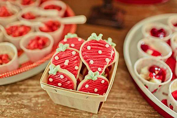 CUTE strawberry cookies! Vintage Strawberry Shortcake Themed Birthday Party Planning via Kara's Party Ideas - www.KarasPartyIdeas.com