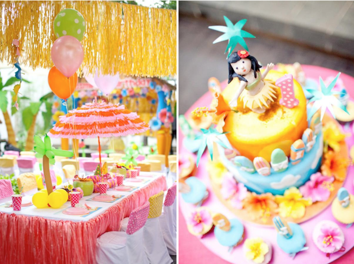 Karas Party Ideas Aloha Luau Surf Colorful Hawaiian Beach Girl 1st Birthday Planning