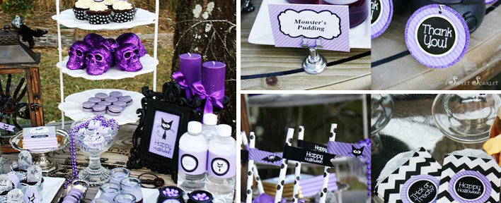 Karas Party Ideas Black And Purple Dessert Table Archives Karas