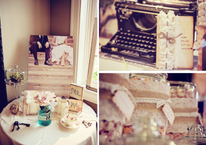 Shabby Chic Burlap & Lace Wedding Reception via Kara's Party Idesa - www.KarasPartyIdeas.com