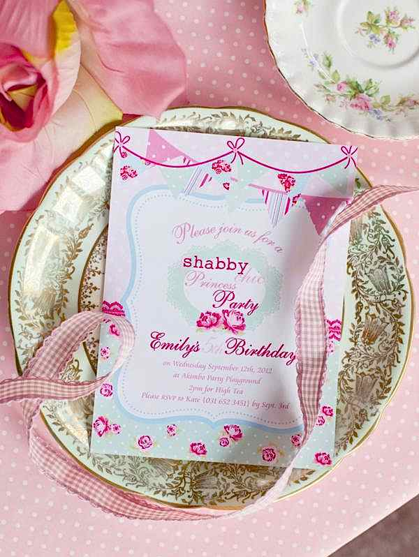 Karas Party Ideas Shabby Chic Princess Girl Pink Vintage Party – Sleeping Beauty Party Invitations