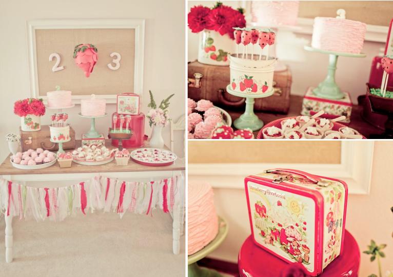 Karas Party Ideas Vintage Strawberry Shortcake Girl Birthday Party