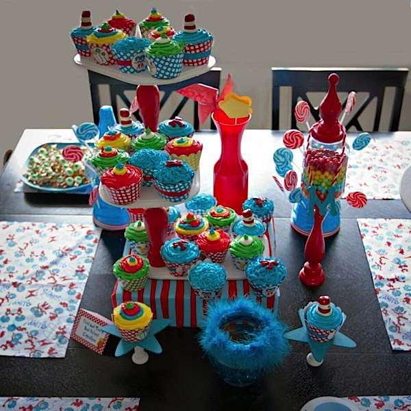 Karas Party Ideas Dr Seuss Boy Girl Cat in the Hat 1st Birthday
