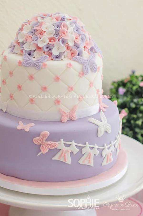 Kara 39 s party ideas pink lilac purple butterfly flowers for Baby shower cake decoration idea