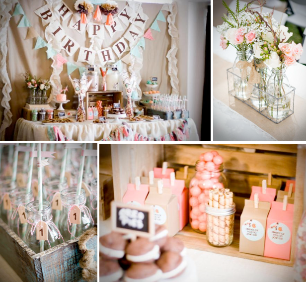 Karas Party Ideas Cookies and Milk Vintage Shabby Chic 1st Birthday