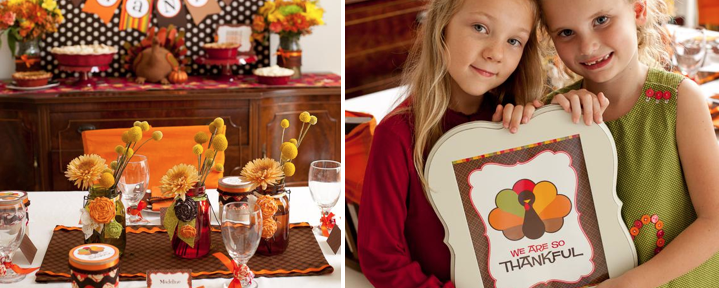 Thanksgiving Childrens Table Party Ideas via Kara's Party Ideas- www.karaspartyideas.com