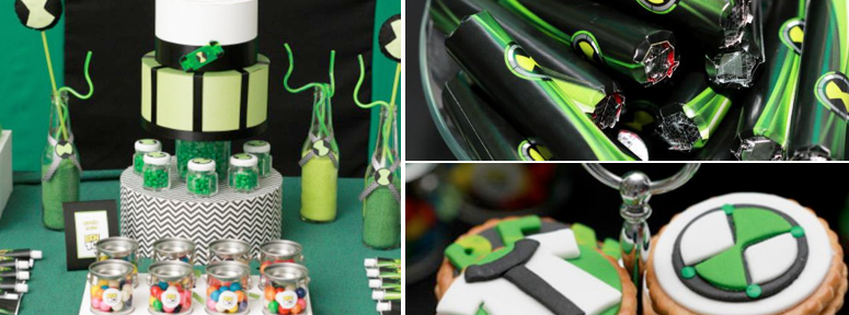 Ben 10 Ten Alien Themed Birthday Party via Kara's Party Ideas www.KarasPartyIdeas.com