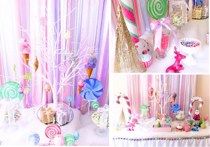 karas party ideas glittery christmas candy land sweet shop girl boy party planning ideas - Candy Themed Christmas Decorations
