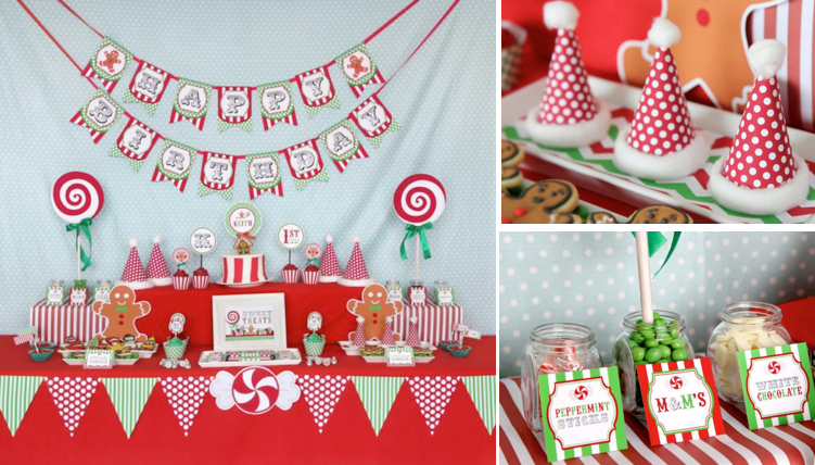 Christmas Sweet Shop First Birthday Party via Kara's Party Ideas www.KarasPartyIdeas.com