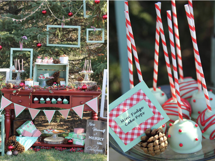karas party ideas winter mint holiday christmas dessert table party planning ideas - Childrens Christmas Party Decoration Ideas