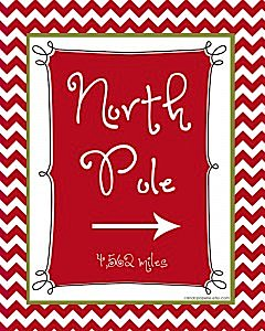 Modern Festive Merry Christmas Holiday Party North Pole Sign Free via Kara's Party Ideas www.KarasPartyIdeas.com