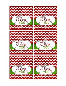 Modern Festive Merry Christmas Holiday Party Thank You Cards Tags Free via Kara's Party Ideas www.KarasPartyIdeas.com