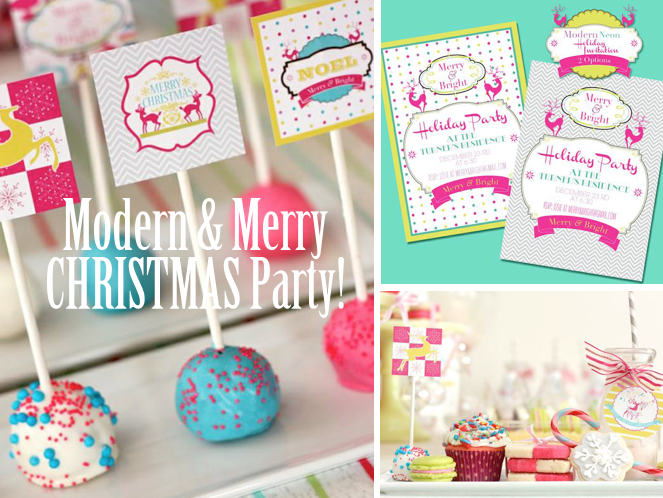 Holiday Christmas Party Ideas Part - 49: Karau0027s Party Ideas Modern And Merry Christmas Neon Bright Party Planning  Ideas