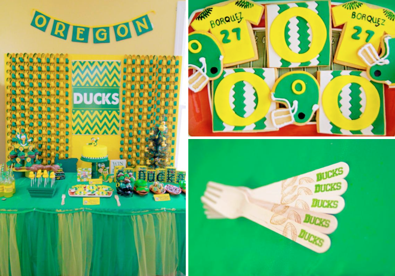 Football Themed Party Decorating Ideas Part - 18: Karau0027s Party Ideas Oregon Ducks Football Sports Boy Birthday Party Planning  Ideas