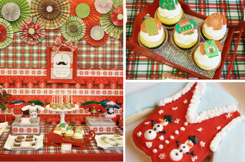 Ugly Christmas Sweater Party Food Ideas Part - 20: Karau0027s Party Ideas Ugly Sweater Mustache Adult Christmas Holiday Party  Planning Ideas