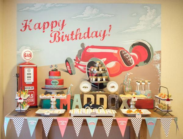 Karas Party Ideas Vintage Race Car Cars Boy Racing 3rd Birthday Party ...