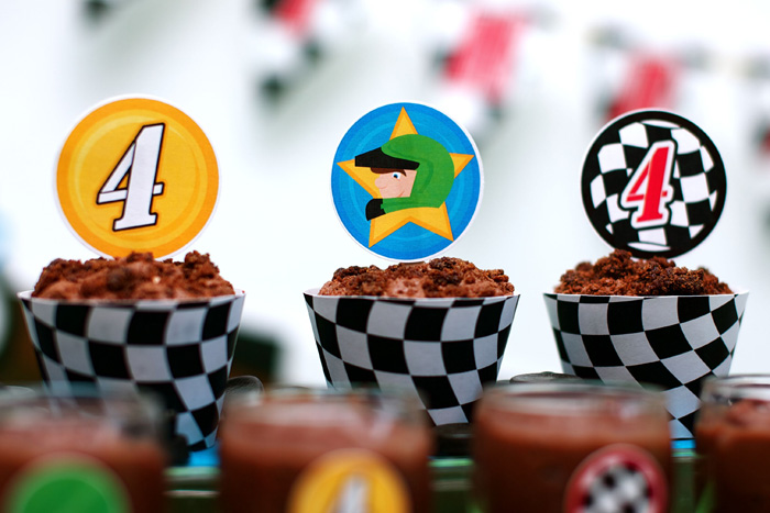 Motorcross Dirt Bike Motorcycle Birthday Party Cupcakes