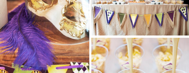 Mardi Gras Themed Party via Kara's Party Ideas www.KarasPartyIdeas.com