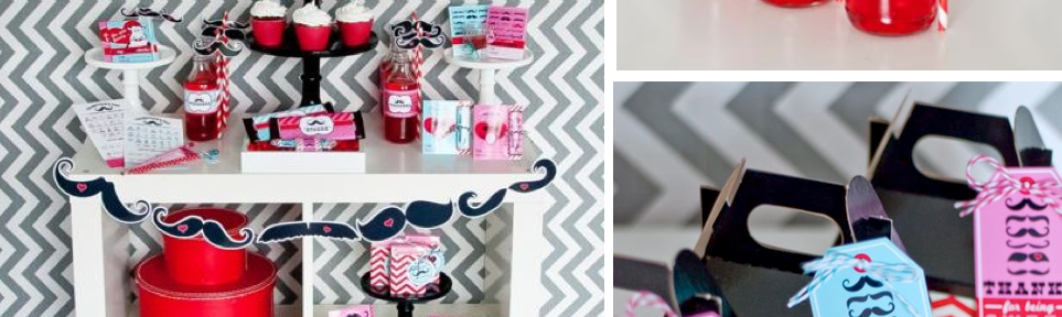 Mustache themed valentine's party | Mrs Mr | via Kara's Party Ideas #mustache #valentine's #party #idea
