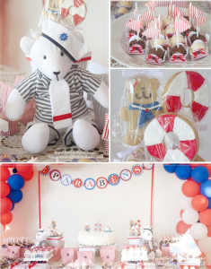 Nautical bear themed 1st birthday party karaspartyideas.com #nautical #bear #birthday #party #ideas #1st