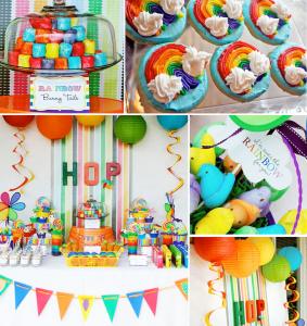Rainbow Bunny Easter Party via Kara's Party Ideas karaspartyideas.com #easter #party #egg #hunt #rainbow