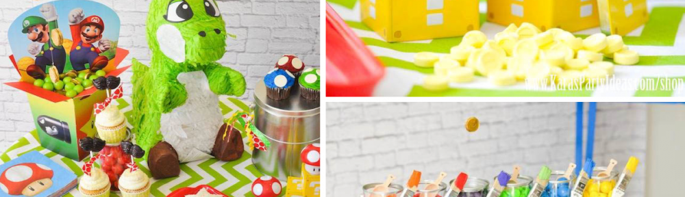 Super Mario Bros Themed Birthday Party Ideas via Kara's Party Ideas www.KarasPartyIdeas.com