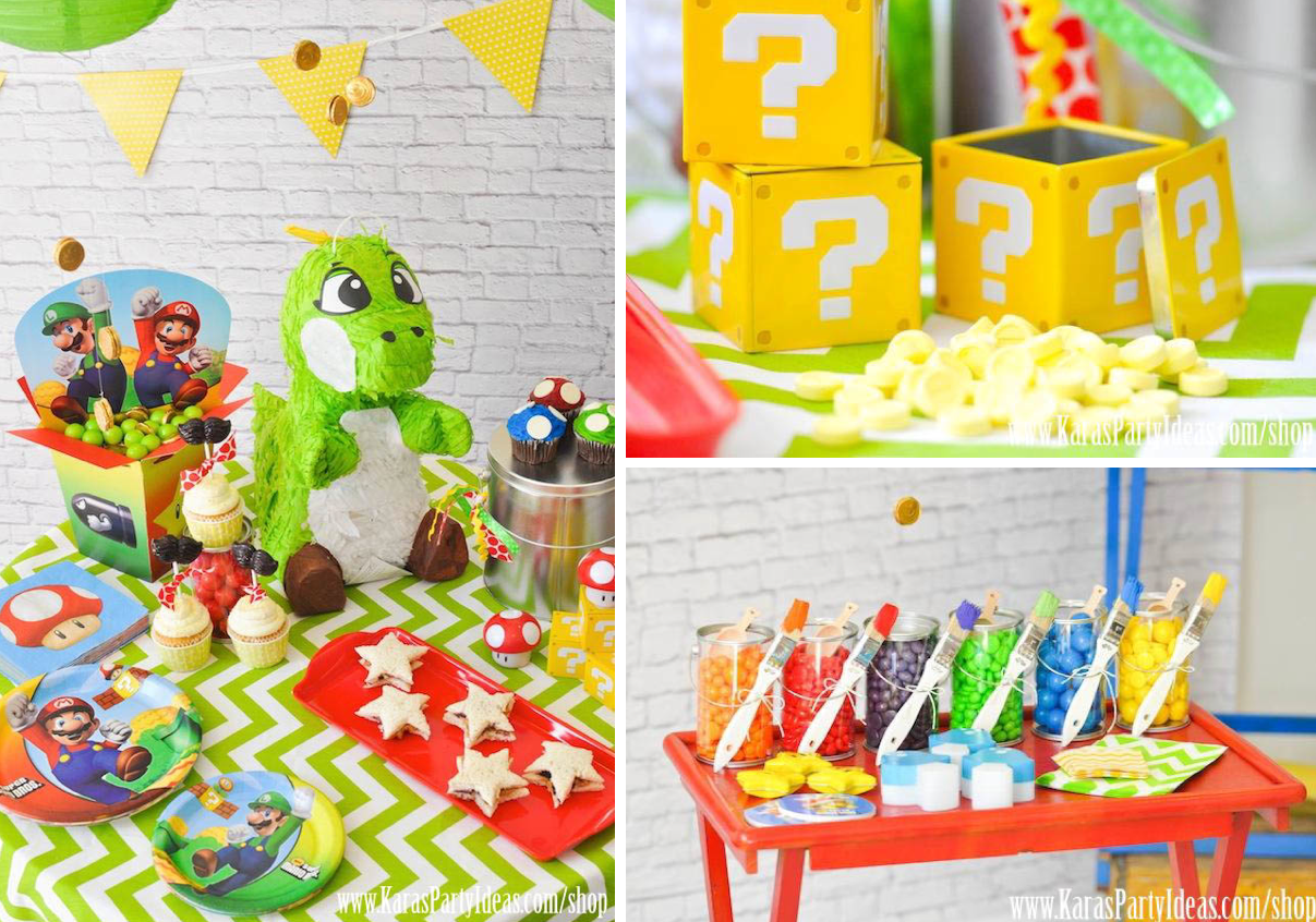 Birthday table decorations boy - Mario Bros Themed Birthday Party