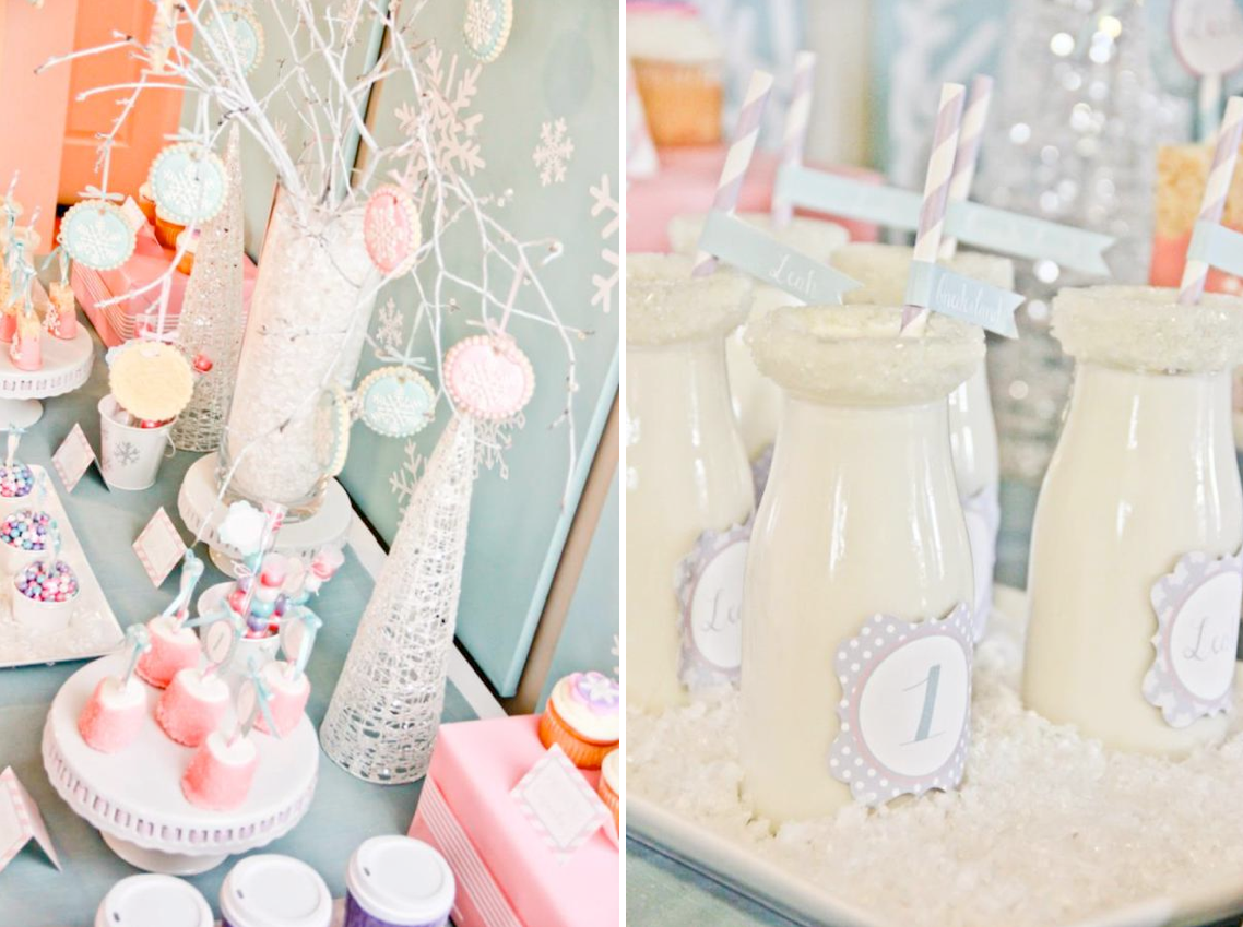 Kara\'s Party Ideas Winter Wonderland Girl Snow 1st Birthday Party ...