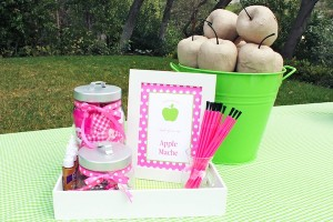Apple of my eye themed birthday party via Kara's Party Ideas karaspartyideas.com #girl #party #idea #apple #pink #birthday-7