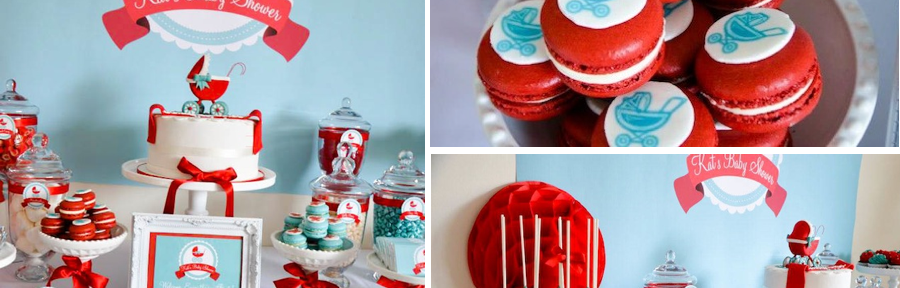Gender Neutral Aqua Red Baby Carriage Shower via Kara's Party Ideas karaspartyideas.com #gender #neutral #shower #baby #red #carriage
