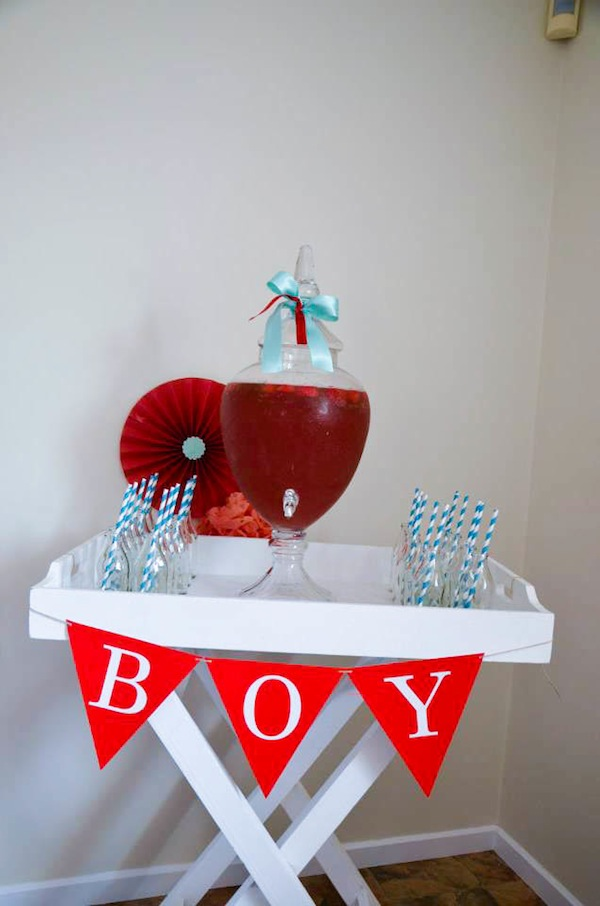 Gender neutral aqua & red baby carriage shower via Kara's Party Ideas karaspartyideas.com #gender #neutral #baby #shower #ideas-10