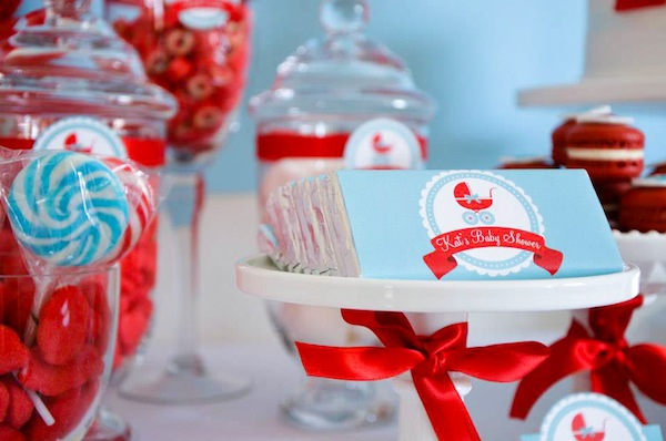Gender neutral aqua & red baby carriage shower via Kara's Party Ideas karaspartyideas.com #gender #neutral #baby #shower #ideas-12